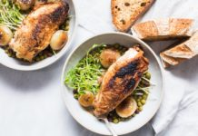 Braised Chicken with Cipollini Onions, Peas, and Black Garlic