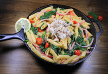 Creamy Wine and Garlic Penne with Pulled Chicken